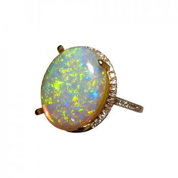 Opal Ring with Diamonds 14k Gold
