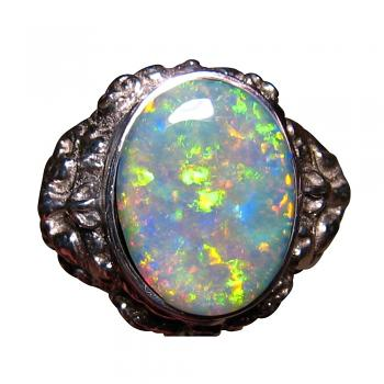 Mans Big Opal Ring 925 Sterling Silver Lion Barong