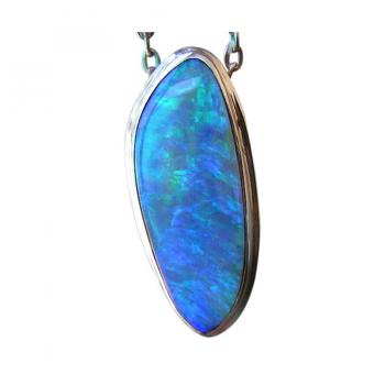 Long Blue Opal Pendant 18k White Gold