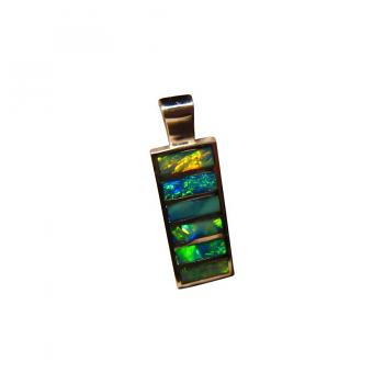 Inlay Opal Pendant 925 Sterling Silver Big Rectangle