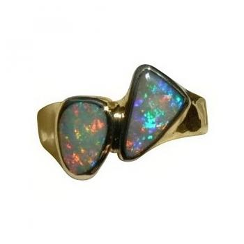 Two Opal Ring 18k Yellow Gold
