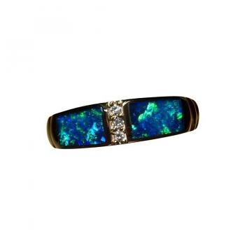 Blue Opal Ring with Diamonds 14k Gold Band