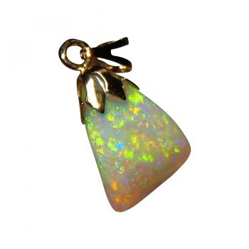 Shell Opal Pendant 14k Yellow Gold Free Form