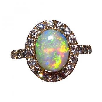 Opal Diamond Ring 14k Gold Green and Yellow Oval