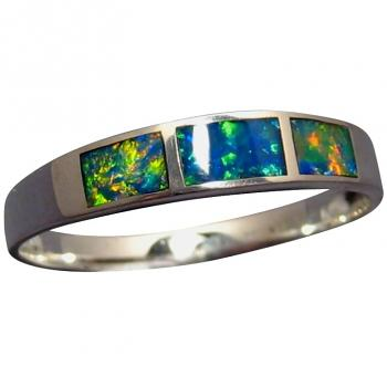 Sterling Silver Inlay Opal Ring Extremely Bright Colorful Gems