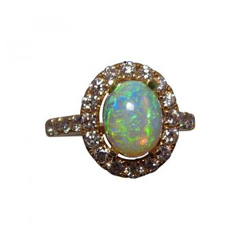 Crystal Opal Diamond Ring 14k Gold Lime Green Oval