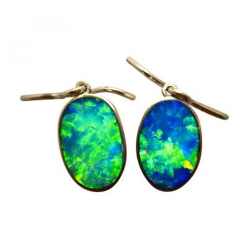 Opal Earrings Extreme Blue and Green Gems 14k Gold