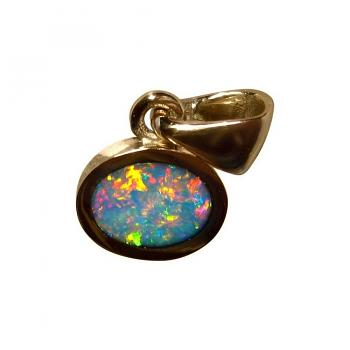 Red Multi Color Opal Pendant 14k Yellow Gold