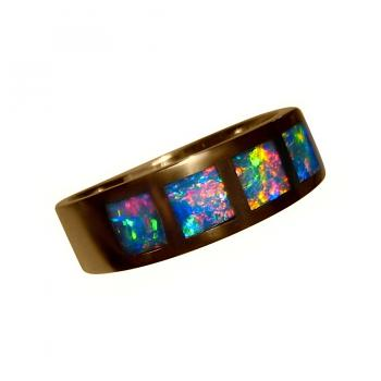 Inlay Opal Ring 14k Gold Four Brilliant Multi Color Gems