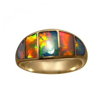 'The Best' Gem Grade Crystal Opal Inlay Ring 14k Gold