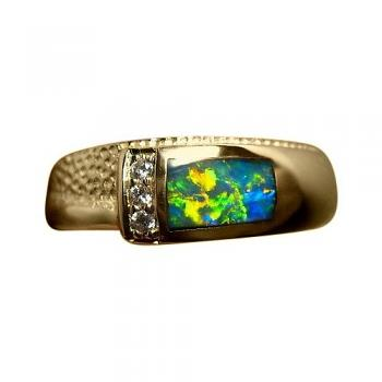 Colorful Opal with Diamond Band Ring 14k Yellow Gold