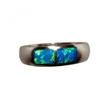 Opal Ring Blue and Green Inlay 18k Gold