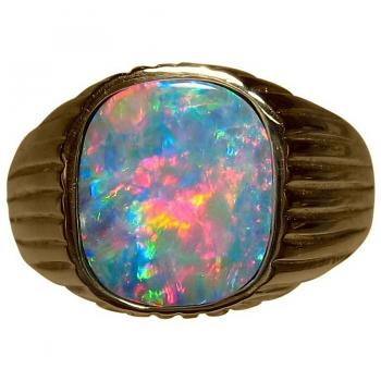 Mens Opal Ring 14k Gold Red Blue Square