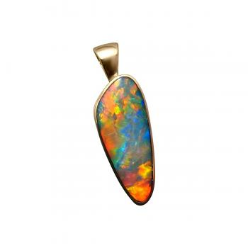 Red Opal Pendant 14k Yellow Gold