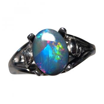 Black Opal Ring 925 Silver or 14k Gold