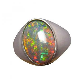 Mens Semi Black Opal Ring Solitaire Oval Stone