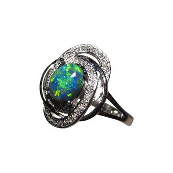 Black Opal Diamond Ring 14k Gold Emerald Green Gem