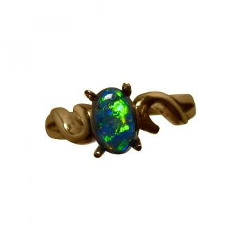 Solitaire Black Opal Ring 14k Gold
