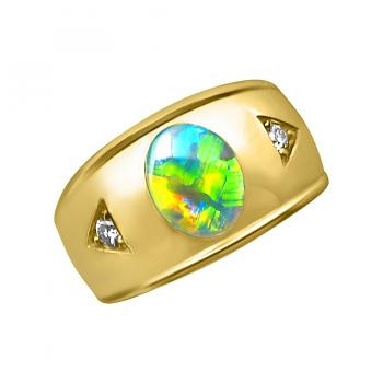 Mens Opal Ring Diamonds 14k Gold Wide Band
