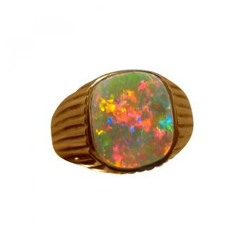 Mens Semi Black Opal Ring 14k Gold