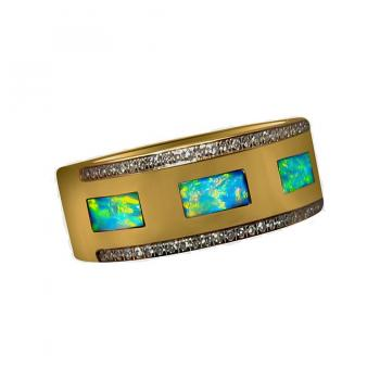 Mens Opal Diamond Ring 14k Gold Wide Band