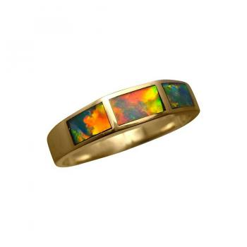 Red Inlaid Opal Ring 14k Gold