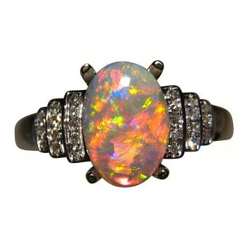 Opal and Diamond Ring Red Gem Crystal 14k Gold