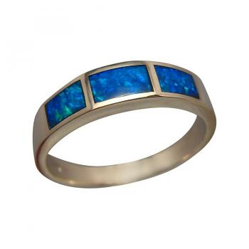 Blue Opal Ring 14k Gold Three Stone Inlay