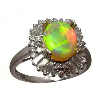 Yellow Crystal Opal and Multi Diamond Ring 14k Gold