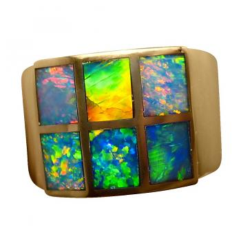 Inlay Opal Ring 14k Gold Wide Band Six Brilliant Gems