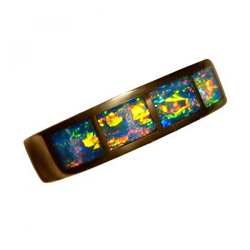 Inlay Opal Ring Four Stones 14k Gold