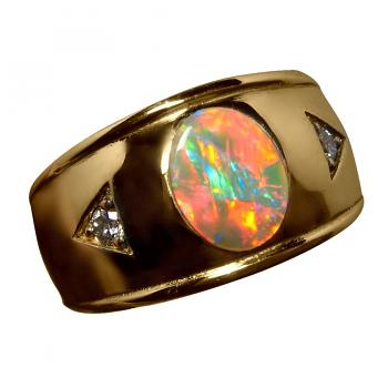 Mens Red Opal Ring Diamonds 14k Gold Wide Band