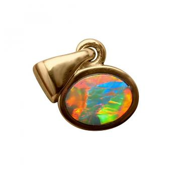 Small Opal Pendant 14k Yellow Gold Oval Red Blue