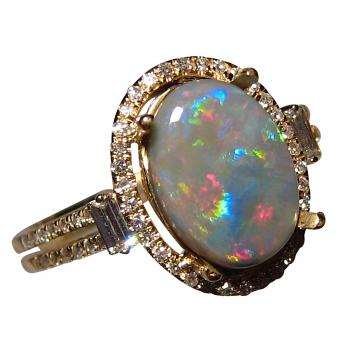 Black Opal Ring with Diamonds 14k Gold