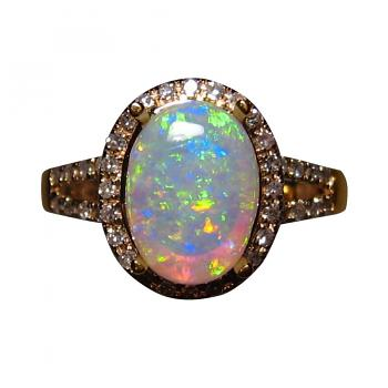 Oval Crystal Opal Ring with Diamonds 14k Gold