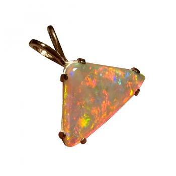 Crystal Opal Pendant 14k Yellow Gold Triangle 5458
