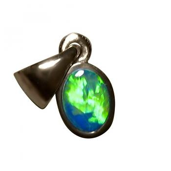 Small Inlay Opal Pendant 14k White Gold