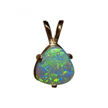 Lightning Ridge Semi Black Opal Pendant 14k Yellow Gold 5651
