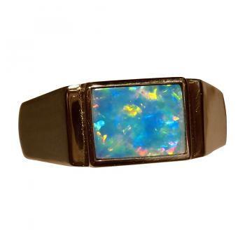 Mens Opal Ring 14k Gold Bright Colors Rectangle
