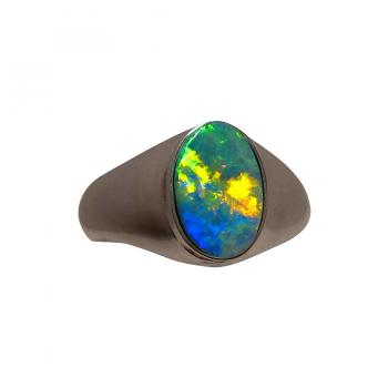 Mens Opal Ring Sterling Silver Wide Band 5703