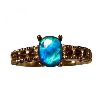 Black Opal Ring 14k Gold Vintage Design