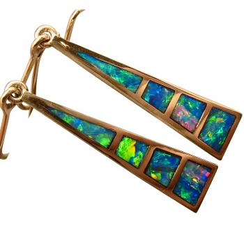 14k Gold Opal Inlay Earrings Long Triangles