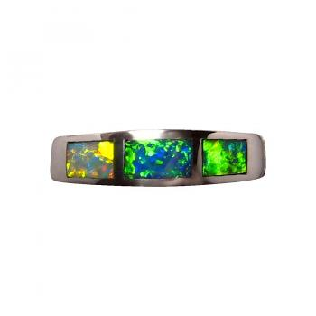 Silver Inlay Opal Ring 925 Sterling