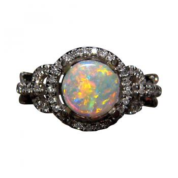 Round Opal Ring with Diamonds 14k Gold