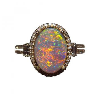 Red Semi Black Opal Ring with Diamonds 14k Gold