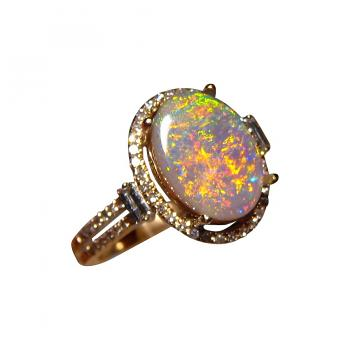 Red Semi Black Opal Ring with Diamonds 14 k Gold