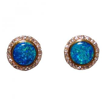 Blue Opal and Diamond Earrings 14k Gold Round Studs
