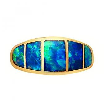 Opal Ring 14k Gold Wide Band Blue and Green Gems