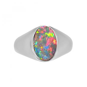 Mens Opal Ring Sterling Silver Oval Red Stone