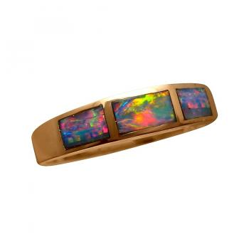 Exceptional Inlay Opal Ring 14k Gold Brilliant Colors